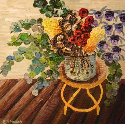 (CreativeWork) Retro Stool with Banksia Pods by Elisabeth Howlett. Oil Paint. Shop online at Bluethumb.