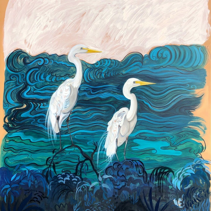 (CreativeWork) Double Prosperity by Sally Browne. oil-painting. Shop online at Bluethumb.