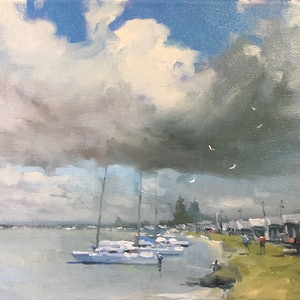 (CreativeWork) Sailing in the Air - Milang  -    by Mike Barr. Oil Paint. Shop online at Bluethumb.
