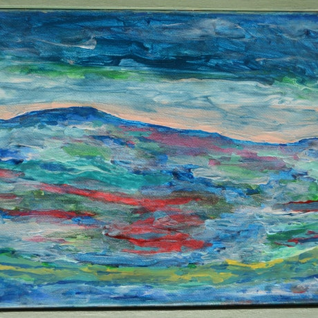 (CreativeWork) The Mountain by Jennifer Lacey. Acrylic Paint. Shop online at Bluethumb.