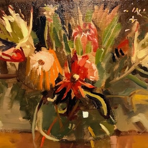 (CreativeWork) Native floral 1 by Ray Wilson. oil-painting. Shop online at Bluethumb.