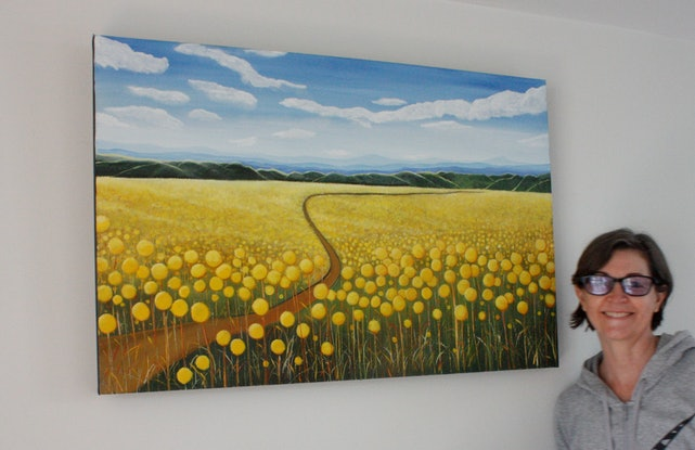 (CreativeWork) Billy Button Road by Corinne Young. Oil Paint. Shop online at Bluethumb.
