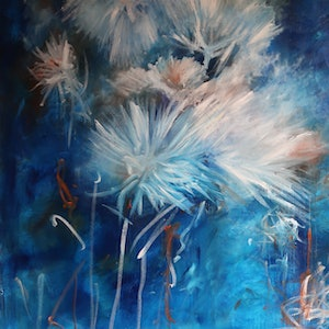 (CreativeWork) The Elegance of Dancing Flowers - Large Canvas by Maria Cross. mixed-media. Shop online at Bluethumb.