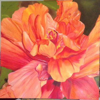 (CreativeWork) Hibiscus  by Sarah Bary. Oil Paint. Shop online at Bluethumb.