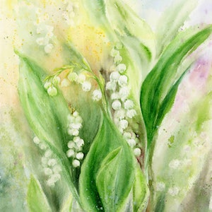 (CreativeWork) Lily of the valley by Cecilia Xiao. watercolour. Shop online at Bluethumb.