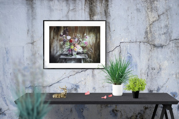 (CreativeWork) Big flower vase by Cecilia Xiao. Watercolour Paint. Shop online at Bluethumb.