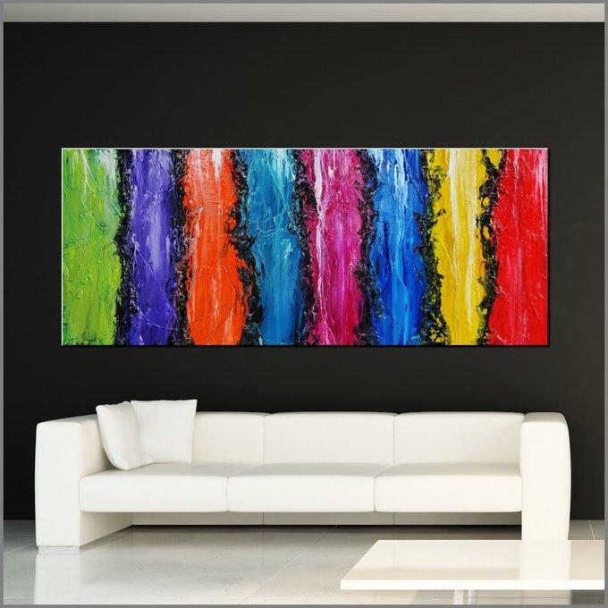 (CreativeWork) Colourfornication 240cm x 120cm Colourful Textured Abstract Gloss Finish FRANKO by _Franko _. #<Filter:0x000056473875a870>. Shop online at Bluethumb.