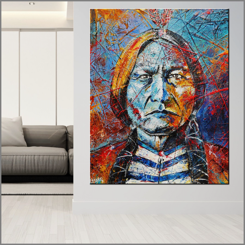 (CreativeWork) Raging Bull 120cm x 150cm Sitting Bull Textured Abstract Realism Gloss Finish FRANKO by _Franko _. acrylic-painting. Shop online at Bluethumb.