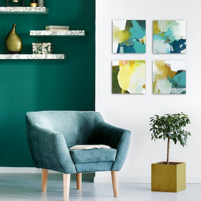 (CreativeWork) Ardor - square, mustard aqua navy abstract painting by Stephanie Laine. #<Filter:0x000056109076fe48>. Shop online at Bluethumb.