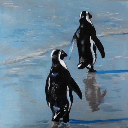 (CreativeWork) Just Two Penguins out for a Walk by julie hollis. Acrylic Paint. Shop online at Bluethumb.