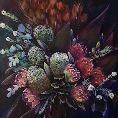 (CreativeWork) Banksia Beauty by Rachel South. acrylic-painting. Shop online at Bluethumb.