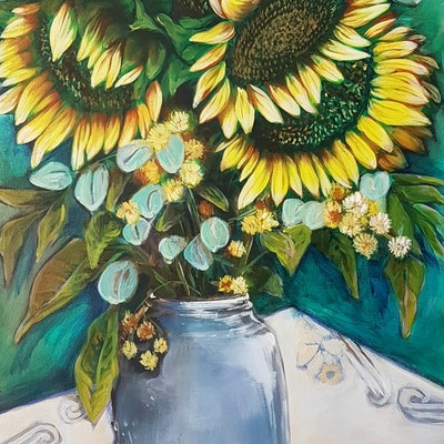 (CreativeWork) Sunny Days by Rachel South. acrylic-painting. Shop online at Bluethumb.