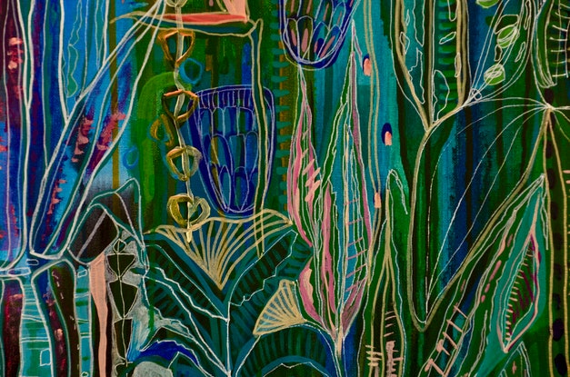 (CreativeWork) 'Midnight Tropics' Large stretched Canvas limited edition print Ed. 3 of 25 by Carley Bourne. #<Filter:0x0000562636588c18>. Shop online at Bluethumb.