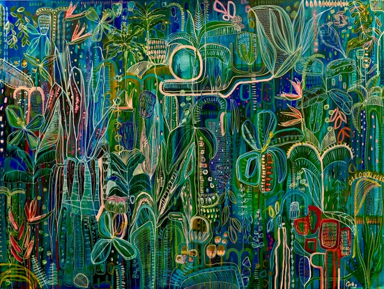 (CreativeWork) 'Midnight Tropics' Large stretched Canvas limited edition print Ed. 3 of 25 by Carley Bourne. Print. Shop online at Bluethumb.