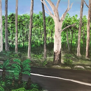 (CreativeWork) A drive through nature by Fiona Farrugia. acrylic-painting. Shop online at Bluethumb.