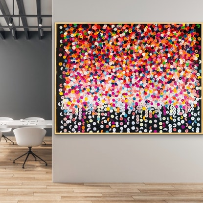 (CreativeWork) Fiesta 152x122 framed large abstract  by Sophie Lawrence. Acrylic Paint. Shop online at Bluethumb.