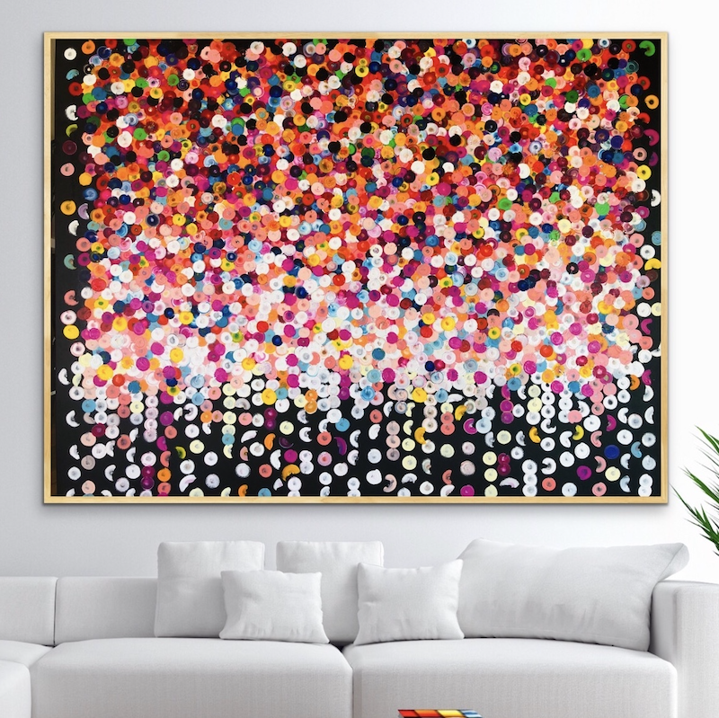 (CreativeWork) Fiesta 152x122 framed large abstract  by Sophie Lawrence. arcylic-painting. Shop online at Bluethumb.