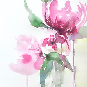 (CreativeWork) Weeping Peonies - Detail by Jill Bryant. watercolour. Shop online at Bluethumb.