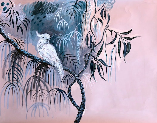 (CreativeWork) White Cockatoo at Dusk by Sally Browne. Acrylic Paint. Shop online at Bluethumb.