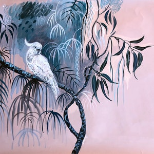 (CreativeWork) White Cockatoo at Dusk by Sally Browne. arcylic-painting. Shop online at Bluethumb.