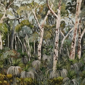 (CreativeWork) Australian  landscape  - Grass Trees and Gums by Susan Trudinger. acrylic-painting. Shop online at Bluethumb.