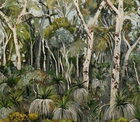 (CreativeWork) Australian  landscape  - Grass Trees and Gums by Susan Trudinger. Acrylic. Shop online at Bluethumb.