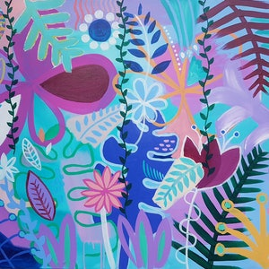(CreativeWork) Jungle Flowers  by Claire Cooper. acrylic-painting. Shop online at Bluethumb.