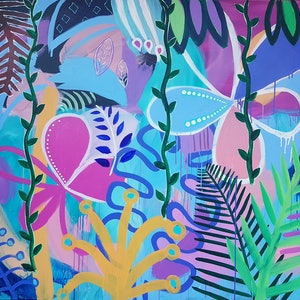 (CreativeWork) Tropical Rainforest - Extra Large by Claire Cooper. arcylic-painting. Shop online at Bluethumb.