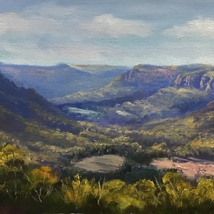 (CreativeWork) Over the Wolgan Valley - Unstretched linen by Christopher Vidal. oil-painting. Shop online at Bluethumb.