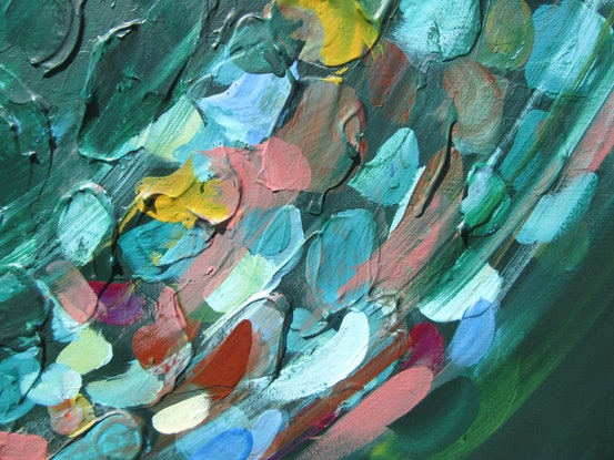 (CreativeWork) When the wind gets into a leaf pile by Lesley Taylor. Acrylic Paint. Shop online at Bluethumb.