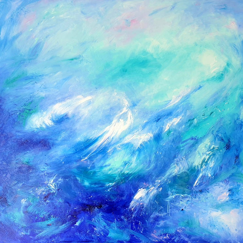 (CreativeWork) Heartbeat Of The Sea - Framed - Abstract by Angela Hawkey. oil-painting. Shop online at Bluethumb.