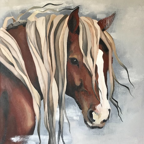 (CreativeWork) Chestnut Horse by Antoinette Stokell. Oil Paint. Shop online at Bluethumb.