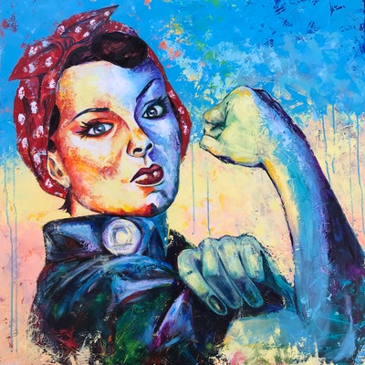 (CreativeWork) Rosie the Riveter by Kylee Rees. acrylic-painting. Shop online at Bluethumb.
