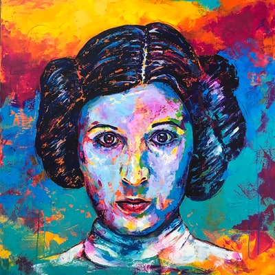 (CreativeWork) Princess Leia by Kylee Rees. acrylic-painting. Shop online at Bluethumb.