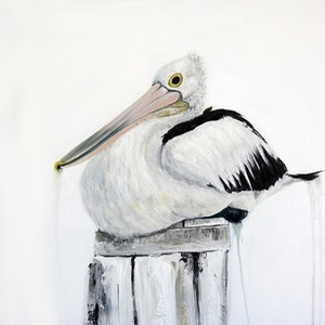 (CreativeWork) Keeping the post 1 - pelican by Naomi Veitch. acrylic-painting. Shop online at Bluethumb.