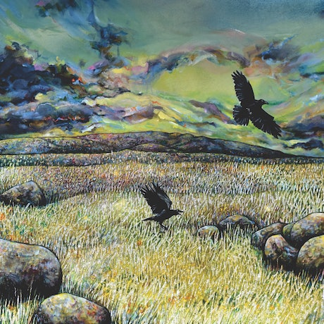 (CreativeWork) Soft Fields with Crows by Bronwyn Doherty. Acrylic Paint. Shop online at Bluethumb.