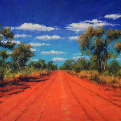 (CreativeWork) Red Outback Road by Craig Taylor. Oil Paint. Shop online at Bluethumb.
