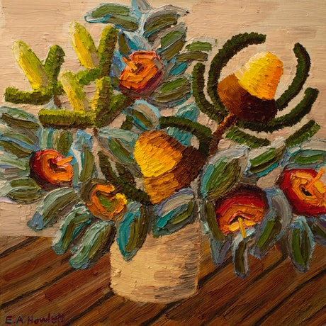 (CreativeWork) Banksia with Mallee Rose  by Elisabeth Howlett. Oil Paint. Shop online at Bluethumb.