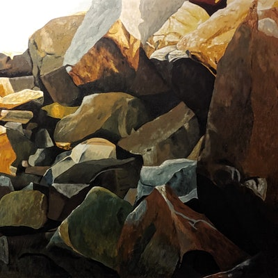 (CreativeWork) Southwest Rocks by Daniel Beresford. oil-painting. Shop online at Bluethumb.
