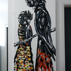 (CreativeWork) Red Tailed Black Cockatoo Pair  by Lisa Fahey. arcylic-painting. Shop online at Bluethumb.