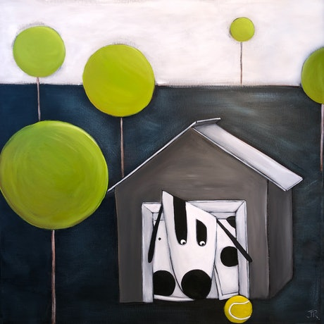 (CreativeWork) Dog #18 by Julie Robertson. Acrylic Paint. Shop online at Bluethumb.