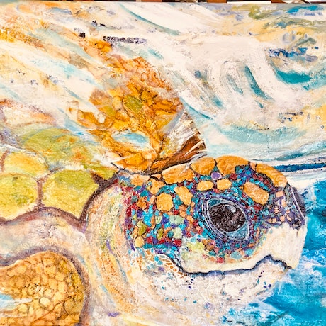 (CreativeWork) 'Gone Surfing' by WANDA STAFFORD. Mixed Media. Shop online at Bluethumb.