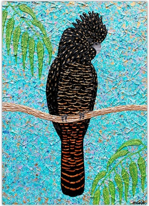 (CreativeWork) Cockatoo - Red Tailed textured cockatoo special by Miranda Lloyd. Mixed Media. Shop online at Bluethumb.