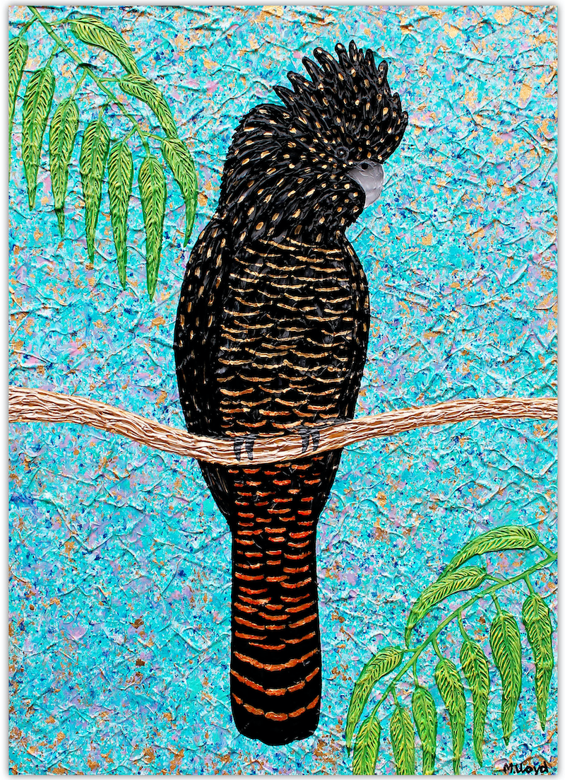 (CreativeWork) Cockatoo - Red Tailed textured cockatoo special by Miranda Lloyd. mixed-media. Shop online at Bluethumb.