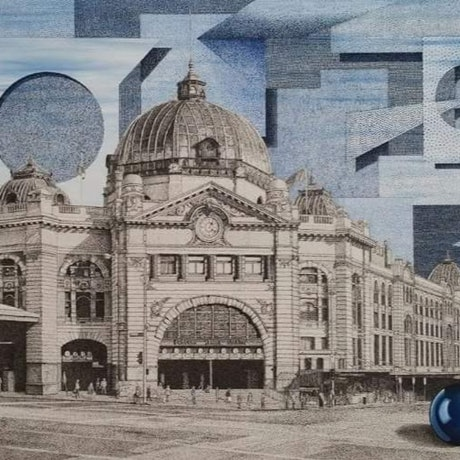 "(CreativeWork) ""Blue Clouds"" featuring Flinders Street Station, Melbourne. by Haydn Porter. Mixed Media. Shop online at Bluethumb."