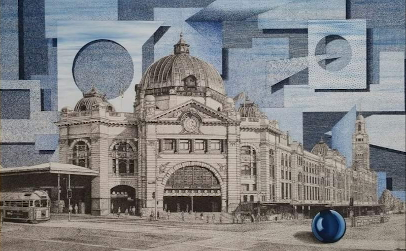 "(CreativeWork) ""Blue Clouds"" featuring Flinders Street Station, Melbourne. by Haydn Porter. mixed-media. Shop online at Bluethumb."
