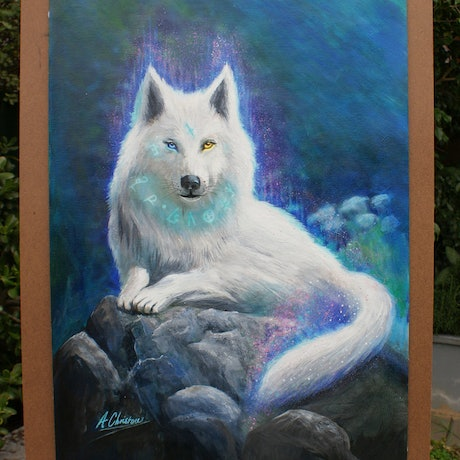 (CreativeWork) The Wolf Captuveri by Anthony Christou. Acrylic Paint. Shop online at Bluethumb.