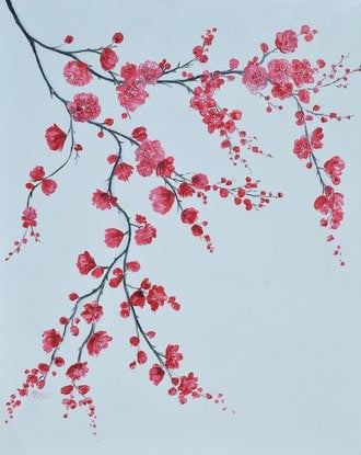(CreativeWork) JAPANESE CHERRY BLOSSOM by Jan Matson. Oil Paint. Shop online at Bluethumb.