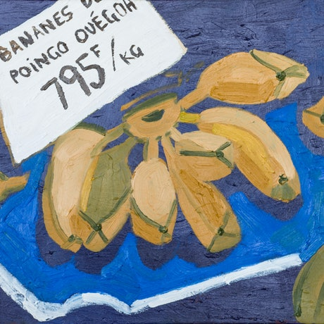 (CreativeWork) Bananes, Moselle Market, New Caledonia  by Katherine Warburton. Oil Paint. Shop online at Bluethumb.