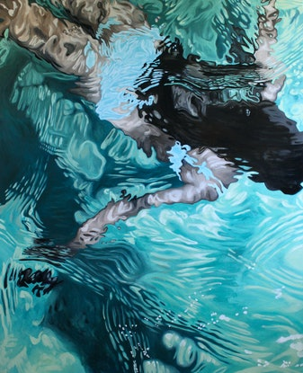 (CreativeWork) Ocean Dream by Amanda Cameron. Oil Paint. Shop online at Bluethumb.